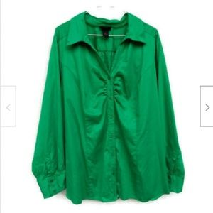 Lane Bryant green button front shirt size 26